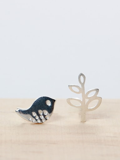 Character Asymmetry Bird Leaf stud Earring
