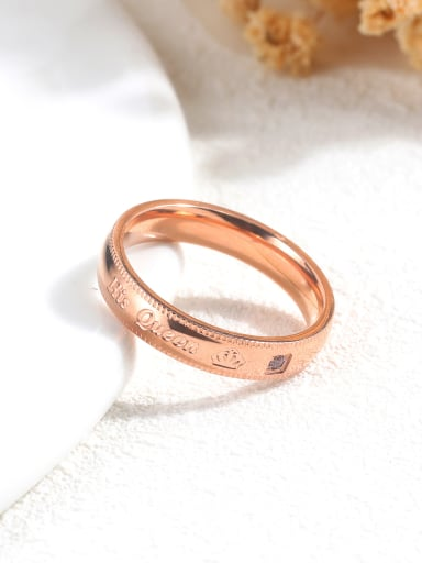 Stainless Steel With Rose Gold Plated Romantic Couple ring