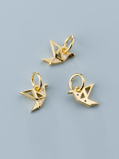925 Sterling Silver With  Cubic Zirconia  Personality Paper Crane  Pendants