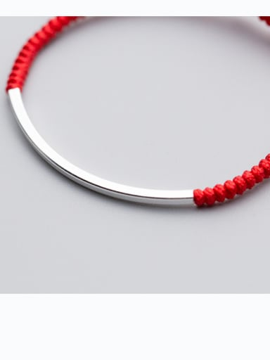 925 Sterling Silver With Silver Plated Simplistic Hook Bent snakeknot red rope Woven & Braided Bracelets
