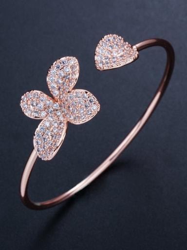 Copper inlay zircon fashion simple flower open bracelet