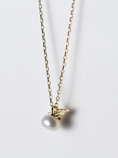 Exquisite Gold Plated Leaf Shaped Artificial Pearl Silver Necklace