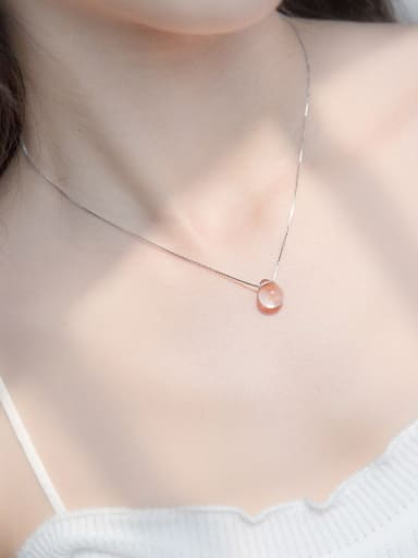 S925 silver water drop shape natural crystal necklace