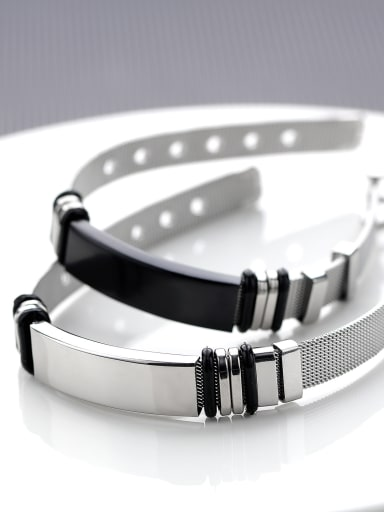 Stainless Steel With Black Gun Plated Simplistic Geometric Band Bracelets