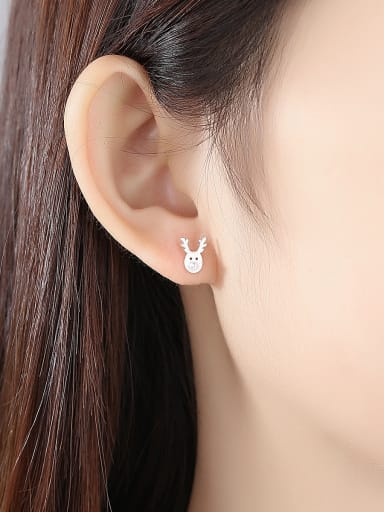 925 Sterling Silver With Artificial Pearl Simplistic Cartoon Antlers Stud Earrings