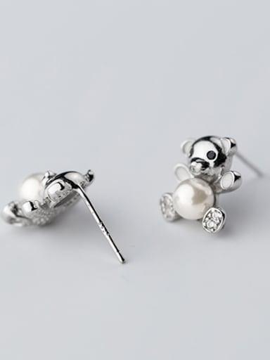 Lovely Bear Shaped Artificial Pearl Silver Stud Earrings