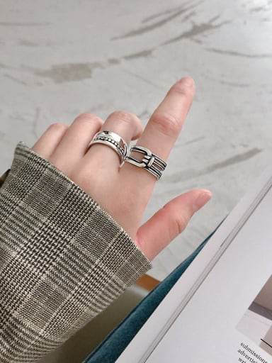 925 Sterling Silver With Antique Silver Plated Vintage Geometric line knot free size Rings