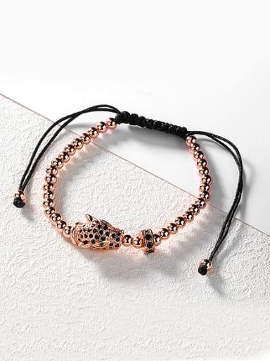 Fashion Leopard Head Black Chinlon Adjustable Bracelet