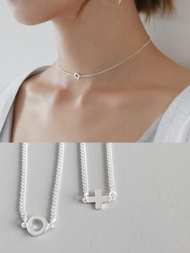 Sterling silver personality coldwind cross round clavicle necklace