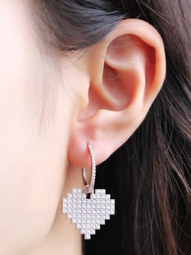 Copper With Platinum Plated Personality Heart Cluster Earrings