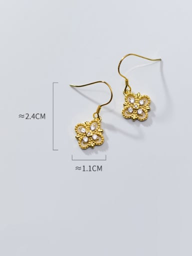 925 Sterling Silver With  Cubic Zirconia Simplistic Flower Hook Earrings