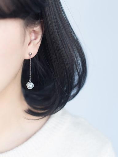 Trendy Flower Shaped S925 Silver Artificial Pearl Drop Earrings
