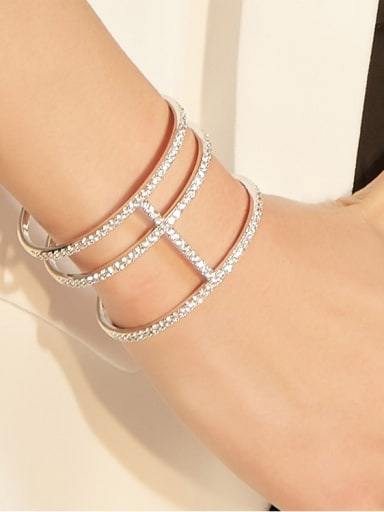 Exaggerated personality micro-inlaid zircon wide bracelet