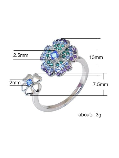 Copper With Sliver Plated  Fashion Flower free size ring