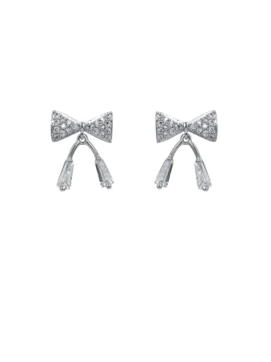 Copper With  Cubic Zirconia Simplistic Bowknot Stud Earrings
