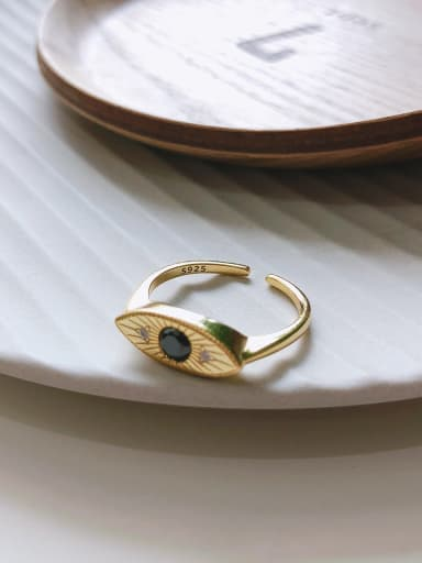 925 Sterling Silver With Gold Plated Simplistic Evil Eye Free Size Rings