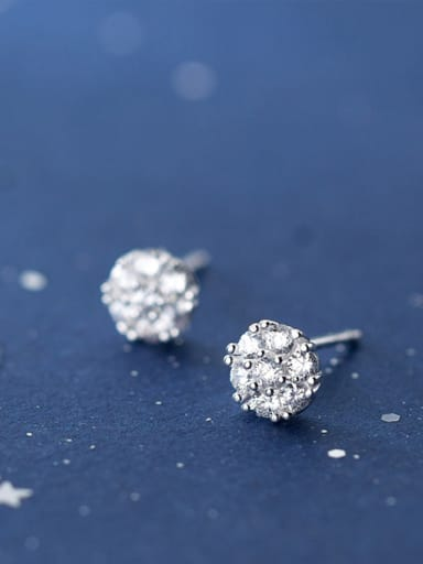 925 Sterling Silver With Silver Plated Simplistic Round Stud Earrings