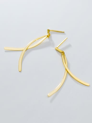 925 Sterling Silver With Gold Plated Simplistic Fringe Threader Earrings