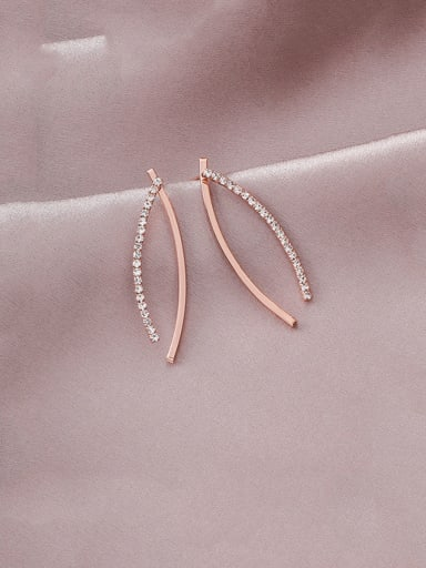 Alloy With Platinum Plated Simplistic Micro-inlaid Line Curved Earrings