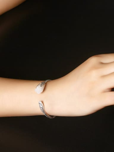 Beautiful White Marble Orchid Female Bangle