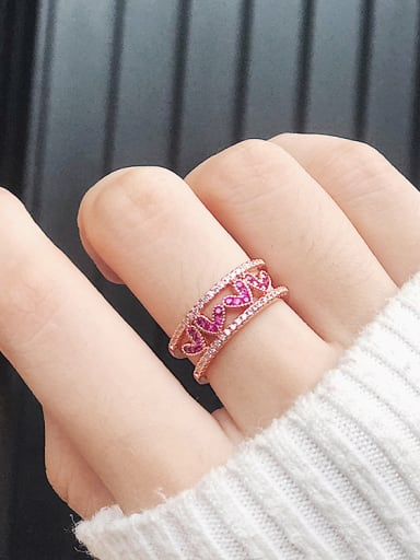 Alloy With Rose Gold Plated Cute Heart Cubic Zirconia Rings