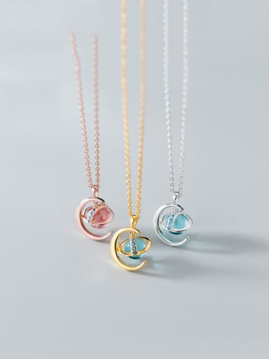 925 Sterling Silver With Cubic Zirconia Simplistic Moon Planet Necklaces