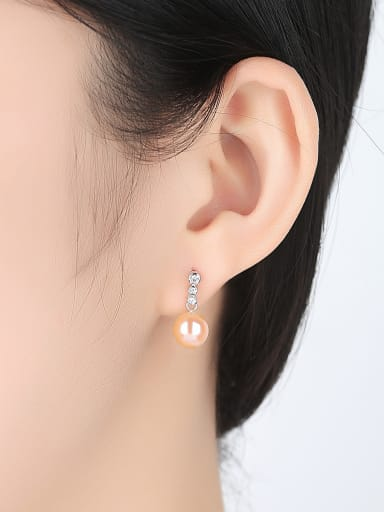 925 Sterling Silver With Platinum Plated Fashion Round Drop Earrings
