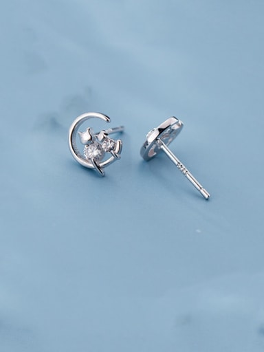 925 Sterling Silver With Cubic Zirconia Cute Owl Stud Earrings