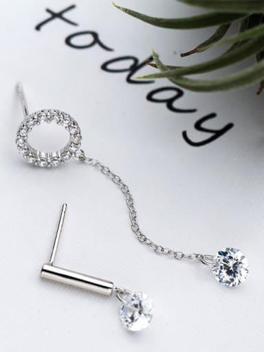 Personality Geometric Shaped Asymmetric S925 Silver Drop Earrings