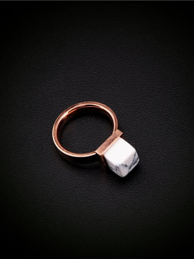 Square White Stone Fashion Ring