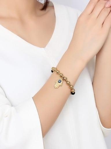 All-match Palm Shaped Artificial Pearl Titanium Bracelet