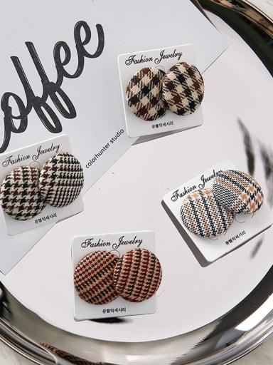 Personality Simple Circular Geometry Thousand-Bird Lattice Button Earrings
