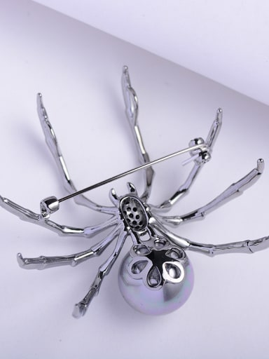 Copper With Gun Plated Artificial Pearl spider Brooches