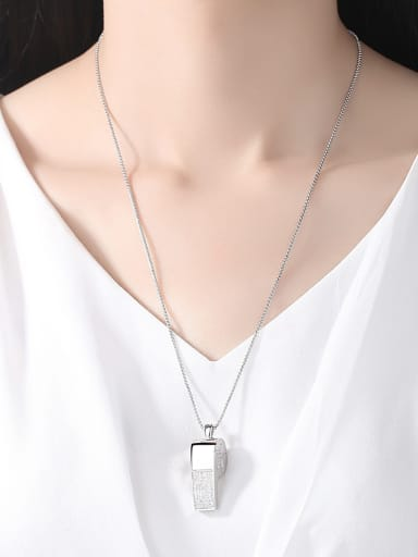 Copper With White Gold Plated Simplistic Whistle Necklaces