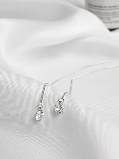 Simple Silver Cubic Zircon Line Earrings
