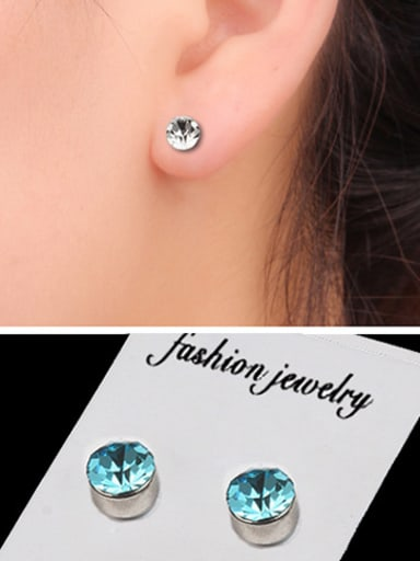 Stainless Steel With Silver Plated Simplistic Round Stud Earrings
