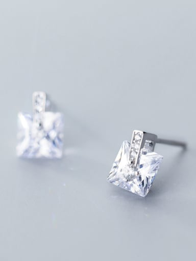925 Sterling Silver With Silver Plated Simplistic Geometric Stud Earrings