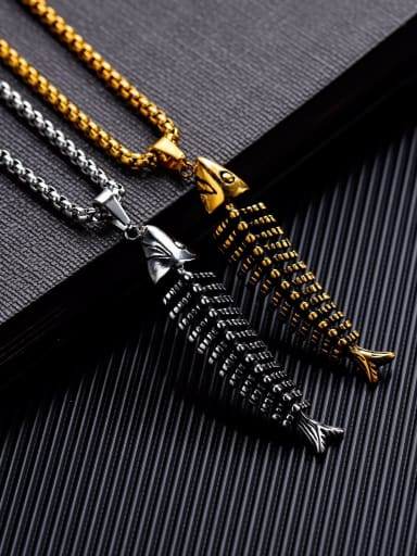 Stainless Steel With Antique Gold Plated Personality with fish bones Pendants