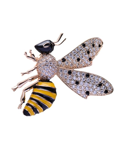 Copper With Cubic Zirconia Cute Insect bee Brooches