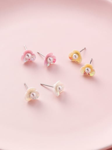 Alloy With Platinum Plated Cute Colored  Shell Artificial Pearl Shell flower 6 piece earrings
