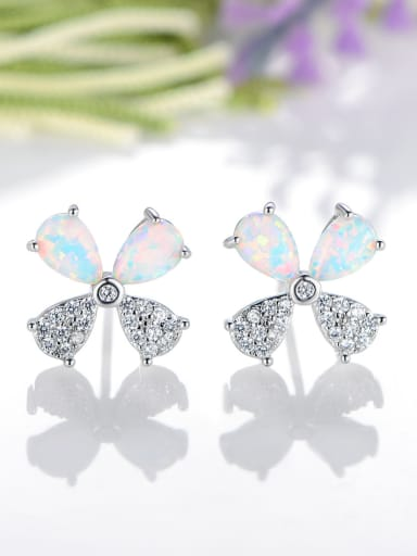 925 Sterling Silver With Platinum Plated Fashion Flower Stud Earrings