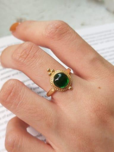Sterling silver green semi-precious stones free size ring