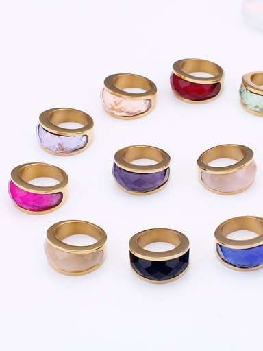 Stainless Steel With Gold Plated Trendy Geometric Multistone Rings