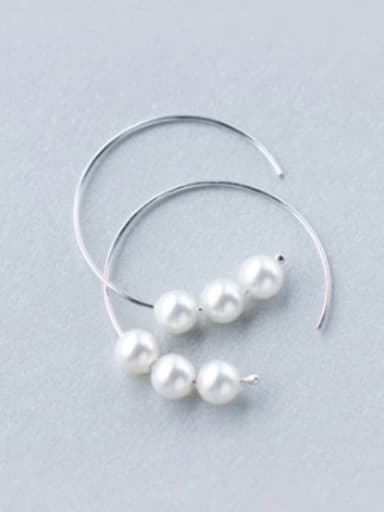Temperament Letter C Shaped Artificial Pearl Clip Earrings