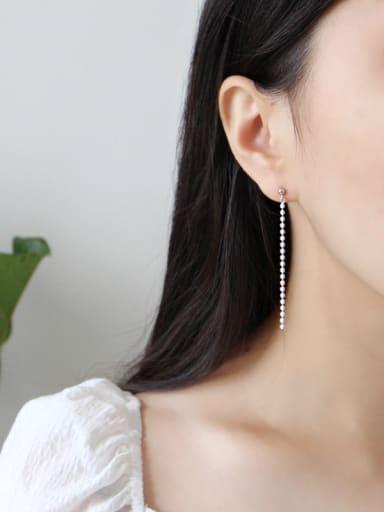 Sterling Silver simple bead long earrings