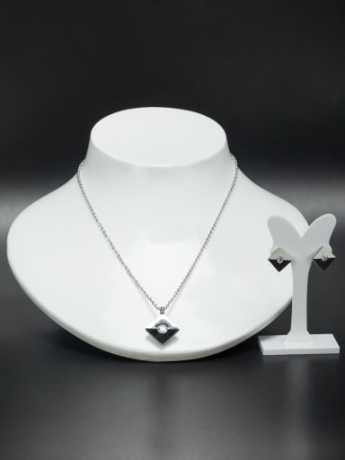 Stainless steel Square Rhinestone 2 Pieces Set