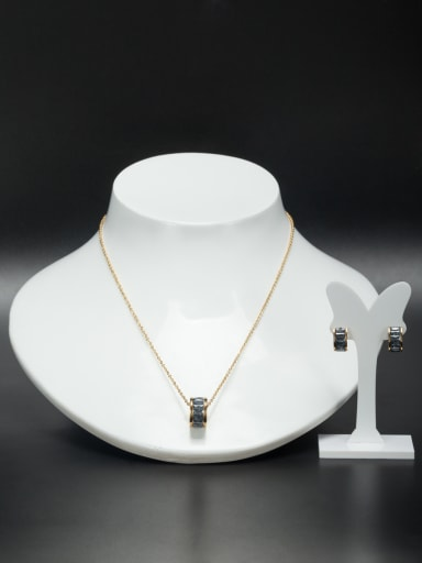 Round Stainless steel Gold 2 Pieces Set