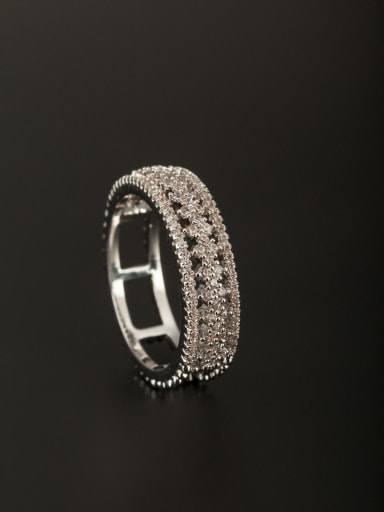 Platinum Plated Copper Square Zircon White Ring Combination of the ring