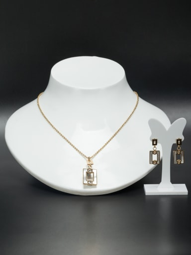 Personalized Stainless steel Gold Square Rhinestone 2 Pieces Set