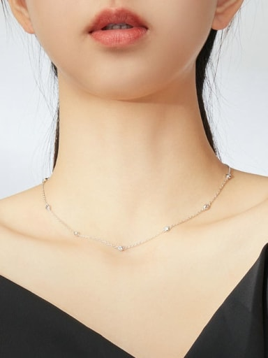 925 Sterling Silver With  White Gold Plated Minimalist  Clavicle Necklaces